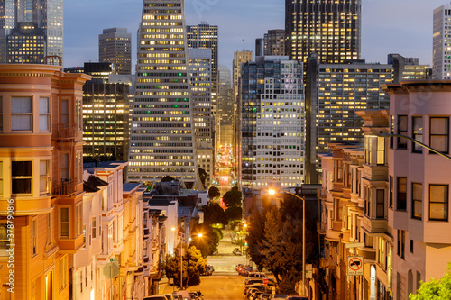 Fototapety, obrazy: San Francisco Financial District via Russian Hill