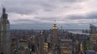 Pan Across Manhattan Skyline at Dusk