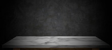 Empty Marble Top Table With Dark Abstract Cement Wall Background For Product Display Montage.