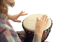 Man Plays Ethnic Drum Darbuka Percussion, Close Up Musician Isolated On White Studio Background. Male Hands Tapping Djembe, Bongo In Rhythm. Musical Handmade Instruments, World Culture Sound.