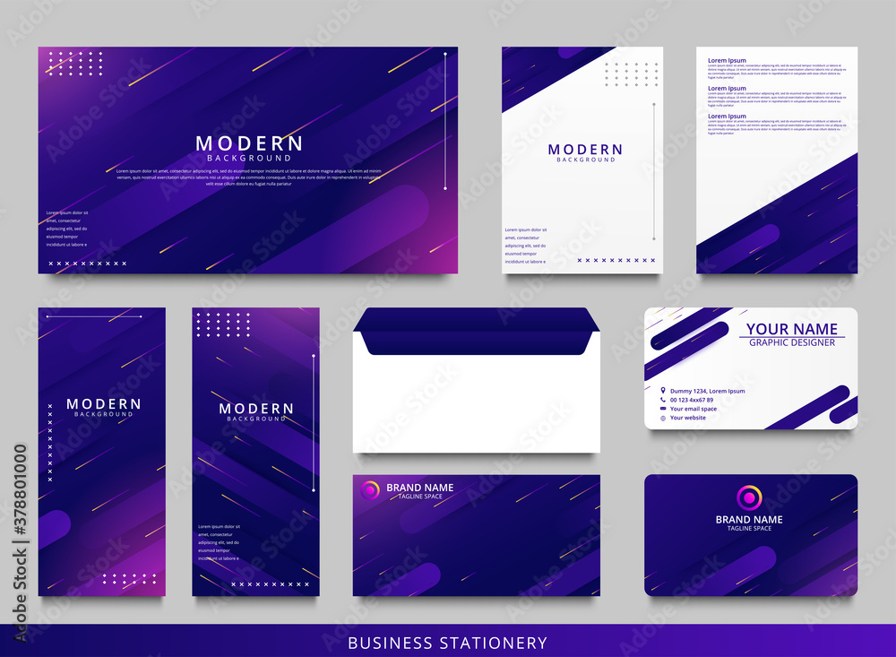 Fototapeta Blue geometric corporate identity design template
