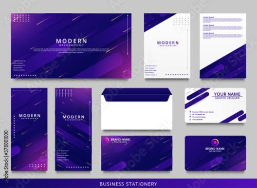 Fototapeta Blue geometric corporate identity design template obraz