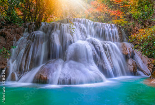Fototapety, obrazy: Huai Mae Kamin waterfall (Third Level) Srinakarin Dam in Kanchanaburi, Thailand