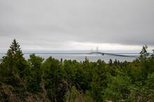 Mackinac Bridge Overlook. View From Straits State Park In Michigan