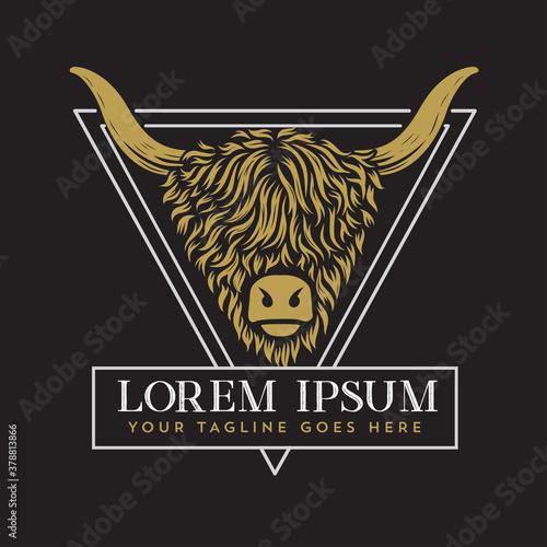 Fototapeta Highland Cow Logo Template obraz