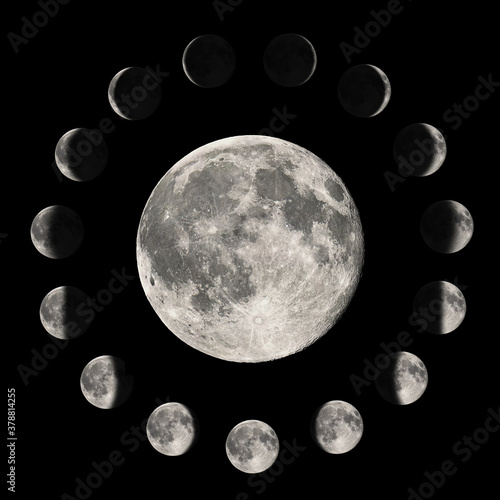 Obraz Phases of the Moon, Lunar cycle - fototapety do salonu