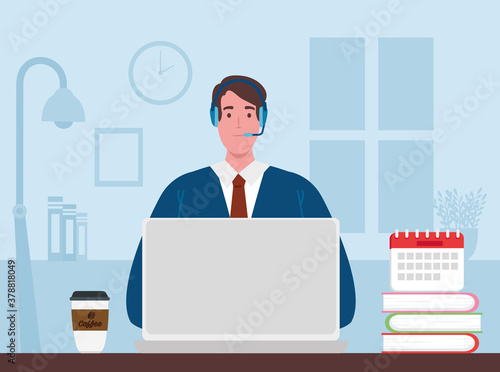 Fotografie, Obraz telework, agent male call center working from home vector illustration design