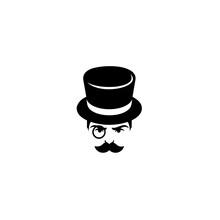 Retro Man With A Hat And Eyepiece. Retro Fashion Gentleman Club Label Design. Flat Style Trend Modern Logotype Design Vector Illustration.