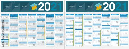 Photo Calendrier 2021 14 mois avec vacances scolaires officielles au format 320 x 420