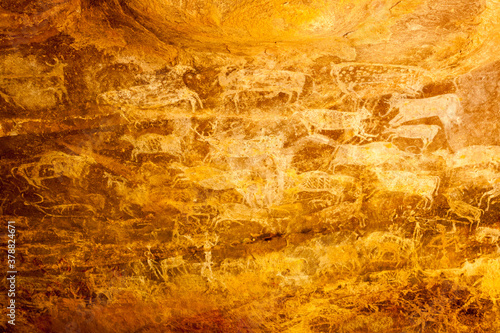 Fotografie, Obraz Archeological pre-historic human cave paintings in India