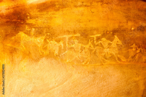 Archeological pre-historic human cave paintings in India Wallpaper Mural