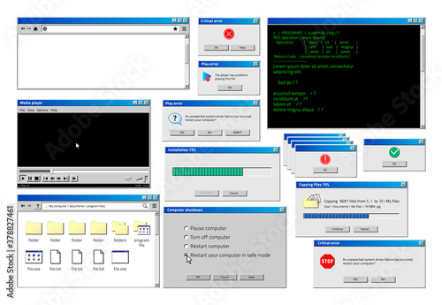 Obraz Computer window. Retro browser interface with popup error and warning windows, classic old software UI. Vector illustration website and loading windows set - fototapety do salonu