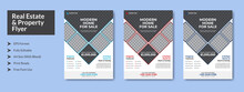 Abstract Real Estate Property Flyer With Color Variation, A4 With Bleed, Print Ready, EPS Formet, Editable.