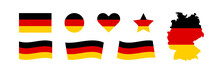 Germany Flag Set Vector Icon. Isolated Sticker European Country Map. National German Colors Black, Red And Yellow.