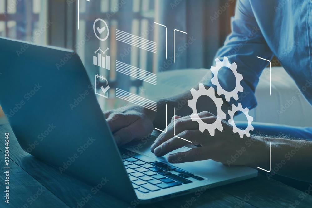 Fototapeta automation, industrial business process workflow optimisation concept on virtual digital screen