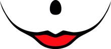 Evil Clown Girl Woman Clown Face Smile Female Smiling / Girl Creepy Clown Or Horror Woman Clown, Clown Horror Smiley Face. Clown Female Smiling Mouth, Joker Smile For Halloween. Illustration