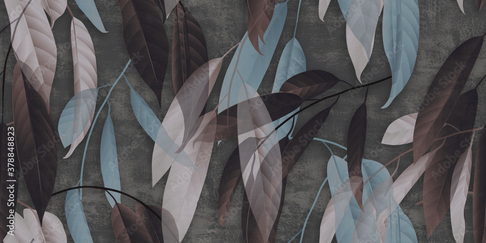 Concrete wallpaper, overlapping autumn leaves with a heavenly color