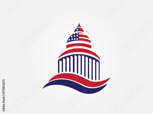 Fotografie, Tablou Logo USA flag on cupola building icon vector