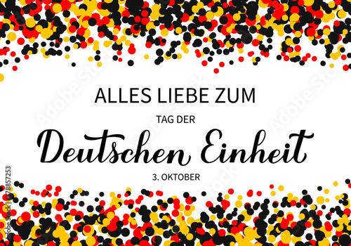 Fototapeta Tag der Deutschen Einheit translate Happy German Unity Day calligraphy hand lettering. National holiday in Germany on October 3. Vector template for banner, typography poster, flyer, greeting card obraz