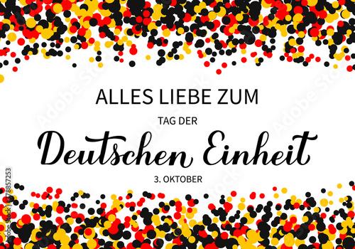 Tag der Deutschen Einheit translate Happy German Unity Day calligraphy hand lettering Fotobehang