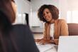 Leinwandbild Motiv Young woman doing a job interview