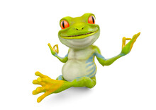 Little Frog Cartoon Is Doing Yoga And Smiling
