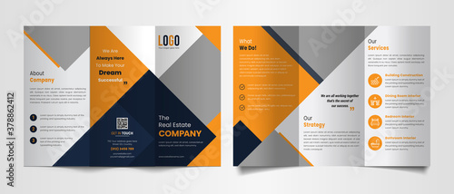 Fototapeta Modern trifold brochure template with black and yellow color shapes. obraz