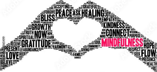 Obraz na plátně Mindfulness Word Cloud on a white background.