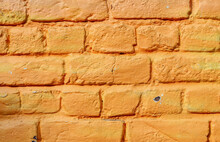 Orange Painted Brick Wall, Orange Painted Brick Wall, Structure, Background, Very Close-up Side View.