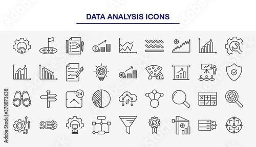Set of Data Analysis vector line icons Wallpaper Mural