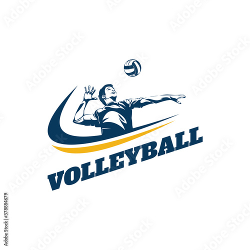 Valokuvatapetti Volleyball Player Logo Template Design Vector