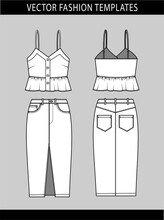 Tank Top And Denim Skirt Fashion Flat Templates. Summer Outfit