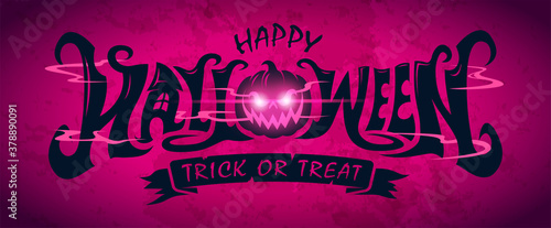 Happy Halloween Text Banner design, Vector Fotobehang