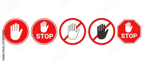Hand forbidden vector sign. Stop hand icons set. Fototapet