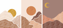 Abstract Background Landscapes. Boho Wall Decor. Mid Century Modern Minimalist Art For Wall Decoration, Postcard Or Brochure Design.vector Illustration.