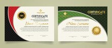 Set Modern Certificate Template With Realistic Texture Diamond Shaped On The Ornament And Modern Pattern Background