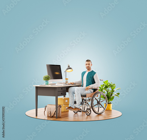 Disabled person in the wheelchair works in the office at the computer. #378903892