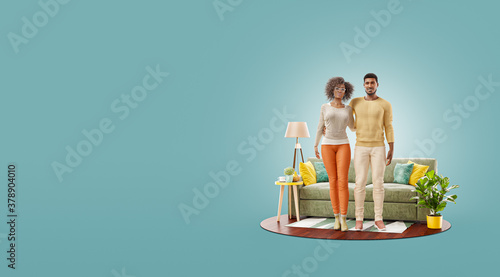Unusual 3d illustration of a Happy african american family enjoying a new home. #378904010