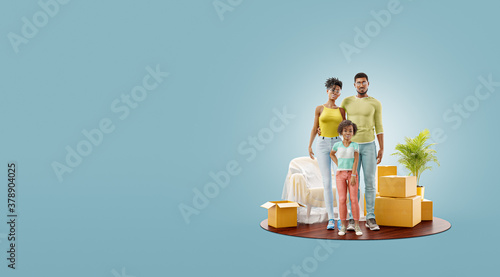 Unusual 3d illustration of a Happy african american family enjoying new home. #378904025