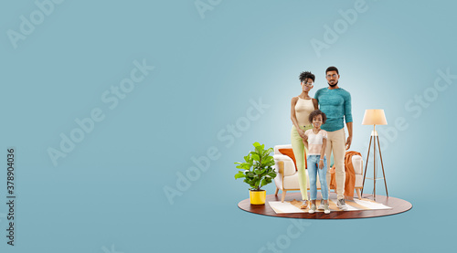Unusual 3d illustration of a Happy african american family enjoying a new home. #378904036