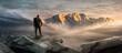 canvas print picture - Wanderer auf einem Gipfel in winterlicher Berglandschaft
