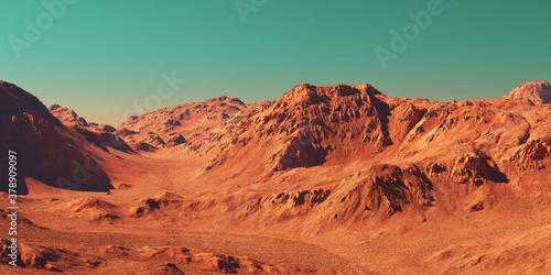 Fototapeta Mars landscape, 3d render of imaginary mars planet terrain, science fiction illustration