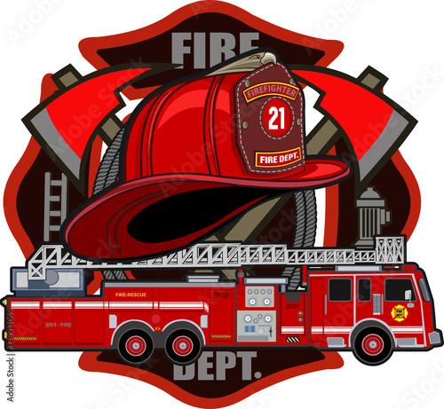 Fotografiet Fire Department Cross Volunteer Red Helmet