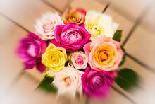 A Bouquet Of Soft Colored Roses. Focus Zoom Effect
