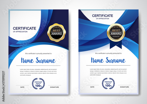 Fototapeta Certificate template clean and modern for diploma, official or different awards
