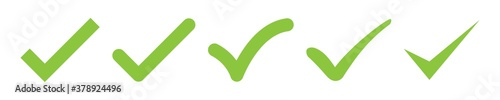 check mark vector icon. green box set. ok choose illustration on white background. correct vote choise isolated symbol.