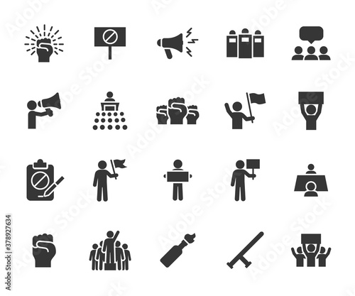 Photo Vector set of protest flat icons