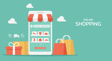 Online Shopping On Mobile App Concept With Shopping Bag, Gift, Box, And Icon, Digital Store On The Smartphone With Fashion Clothes, Web And Banner, Vector Flat Illustration