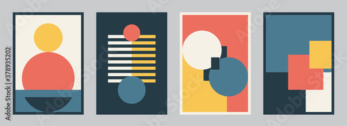 Fototapeta Modern bauhaus design set vector background. Simple pattern in trendy flat style with yellow, blue, red, white and black color geometric shapes. Minimal abstract art obraz