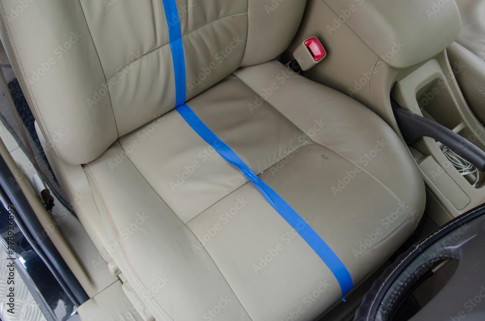 Fototapeta Leather car seats are dirty